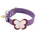 Purple leather dog collar with crystal beaded butterfly