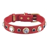 Red leather dog collar with faceted Rhinestones & Sodalite gemstones