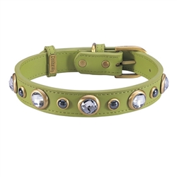green leather dog collar with faceted Rhinestones & Hematite gemstones