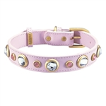 Light pink leather dog collar with faceted crystal rhinestones and pink cat eye cabochons