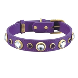 Purple leather dog collar with faceted crystal rhinestones and Amethyst cabochons