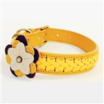 Yellow leather dog collar with flower motif and jade cabochon gemstones