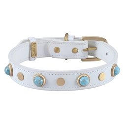 White leather dog collar with turquoise color glass cabochons and round brass studs