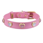 Dark pink leather dog collar with heart shaped pink & white cat eye cabochons
