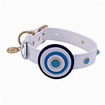 White leather dog collar with circle and Blue Cat Eye gem stones