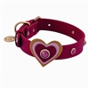 Red leather dog collar with hearts and pink Cat Eye gemstones