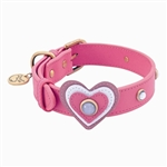 Pink leather dog collar with heart and white Cat Eye gem stone