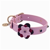 Pink leather dog collar with flower and pink Cat Eye gem stone