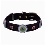 Brown leather dog collar with 3 circles and Hematite gem stone