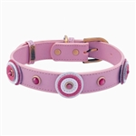 Pink leather dog collar with 3 circle and pink Cat Eye gem stone