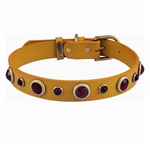 Yellow leather dog collar with Carnelian & Purple Glass gem stone