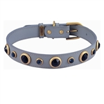 Gray leather dog collar with blue Sand Stone & Sodalite gem stone