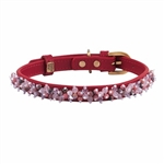 Red leather dog collar with beaded pink Quartz & Rhodonite gem stone