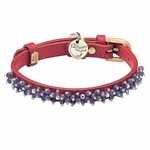 Red leather dog collar with beaded Amethyst gem stone