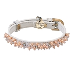 White leather dog collar with beaded Pearl & Pink Quartz gem stone