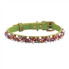 Green leather dog collar with beaded Rhodonite & Aventurine gem stone