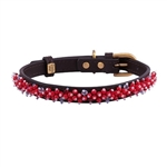 Brown leather dog collar with beaded Bamboo Coral gem stone