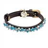 Brown leather dog collar with beaded Turquoise & Aventurine gem stone