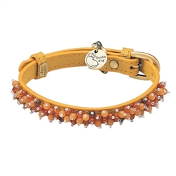 Yellow leather dog collar with beaded Carnelian & Aventurine gem stone