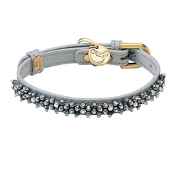 Gray leather dog collar with beaded Hematite gem stone