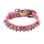 Dark pink leather dog collar with beaded pink Quartz