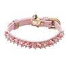 Light pink leather dog collar with beaded pink quartz