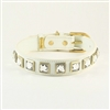 Monte Carlo white leather dog collar with princess cut square rhinestones