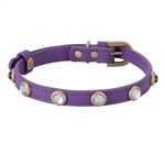 purple leather dog collar with faceted crystal rhinestones