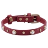 Red leather dog collar with glass pearl cabochons and round brass studs