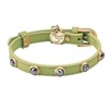 Green leather dog collar with faceted Hematite gem stone