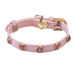 Light pink leather dog collar with faceted pink Cat Eye gem stone