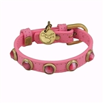 Dark pink leather dog collar with faceted pink Cat Eye gem stone