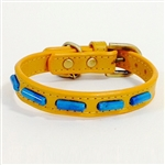 Mini Stripes Yelow Collar with Turquoise gemstone beads