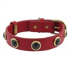 Red leather dog collar with faceted Onyx gem stone