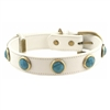 White leather dog collar with faceted Turquoise gem stone