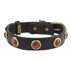 Brown leather dog collar with faceted Gold Sand Stone