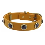 Yellow leather dog collar with faceted Amethyst gem stone