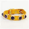 Yellow leather dog collar with faceted Amethyst gemstone cabochons