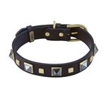Brown leather dog collar with brass studs and pyramid Hematite cabochons
