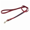 Red leather dog leash with beaded Amethyst.