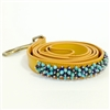 Yellow leash with turquoise and sodalite gemstone beading