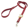 Red leather dog leash with crystal beaded butterfly
