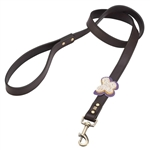 Brown leather dog leash with crystal beaded butterfly