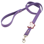 Purple leather dog leash with crystal beaded butterfly