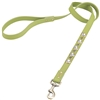 green leather dog leash with faceted Rhinestones & Hematite gem stone