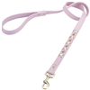 Light pink leather dog leash with faceted crystal rhinestones and pink cat eye cabochons
