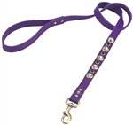 Purple leather dog leash with faceted crystal rhinestones and Amethyst cabochons