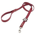 Red leather dog leash with Wild Rose and Hematite gem stone