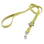Green leather dog leash with Green Orchid and Hematite gem stone