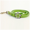 Green Petal leather dog leash with jade cabochon